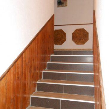 escalier : décoration mélangée, lambris,carrelage